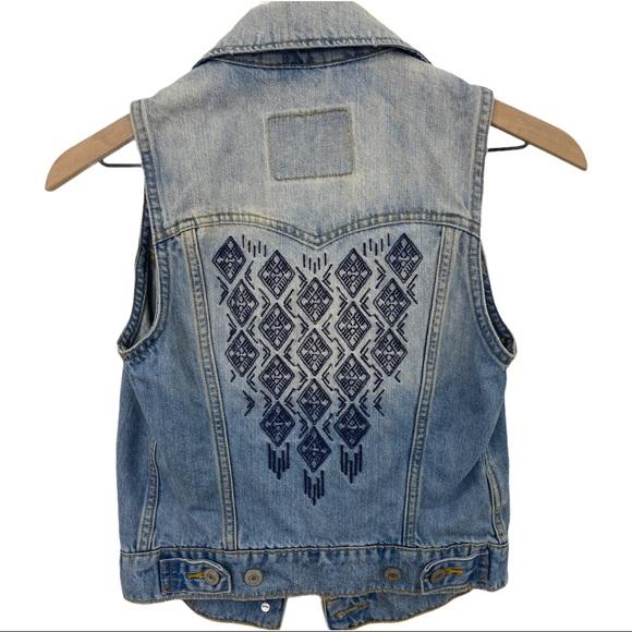 Levi's Denim Embroidered Button Down Vest